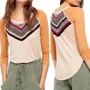 Free People Spring Bound Crochet Paneled Shirt